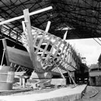 Ship building in Palau, 1966: 4. (N-PA002-117).
