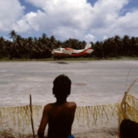 Airplane landing on Falalop island, Ulithi Atoll, Yap…
