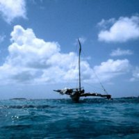Outrigger Canoe on Ocean