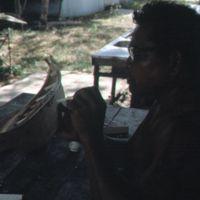 Mau Piailug making model canoe - 007