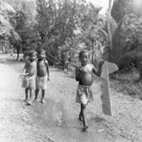 Young boys with banana leaf. (N-PA002-159).