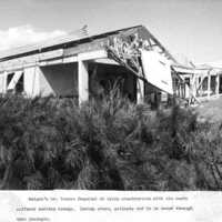 Roof damage, Torres Hospital. (N-1886b.08).
