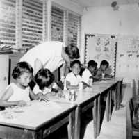 Palau classroom with teacher and students, 1967.…