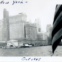 New York city line from a ship, New York U.S.A.