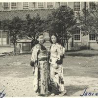 Two women (Judy Kurosaki) and Janie posing in Kimono,…