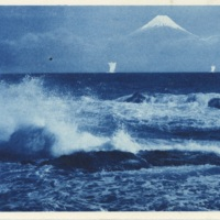 [View of Mt. Fuji from the ocean]