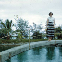 Dolores__? at aquarium, Coconut Island. July 1951