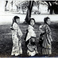 Three Little Girls turned to the side, in Traditional…