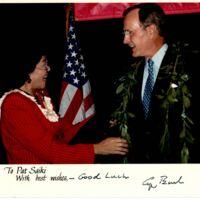 Pat Saiki with President George H. W. Bush