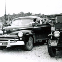 Mr. Ross' Ford - and Green Hornet Jeep - outside…