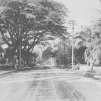 Wide road with trolley tracks