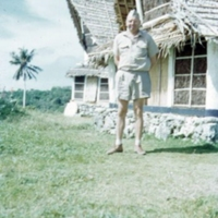 Capt. Anderson outside abai, Yap, WCI. 19 Dec. 1950