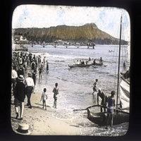 Diamond Head from Waikiki Beach, with bathers and…