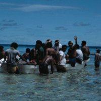 Satawalese People in Boat