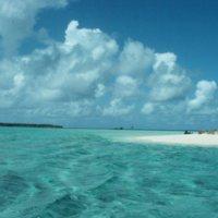 Beach, Ocean, and Distant Island