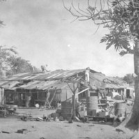"A Japanese house in the sixth ""ku"" is razed, Saipan,…"