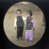 Young boy and girl in Chinese style clothing