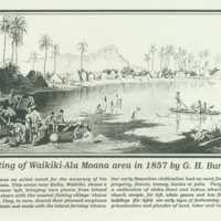 Painting of Waikiki-Ala Moana area in 1857