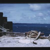 Eniwetok (Fred) Island. From stevedoring pier, lagoon…