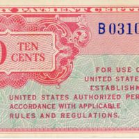 Kaizawa doc 32-1: Front image of a ten cents, military…