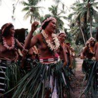 """Satawalese girls dancing """"maas"""" in front of Lugerhig,…"""