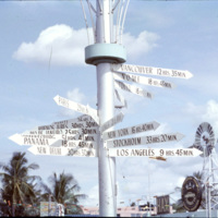 Crossroads travel sign post