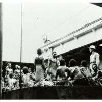 Evacuation of natives of Green Island, off New Ireland.
