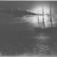 3-masted sailing ship, sails furled