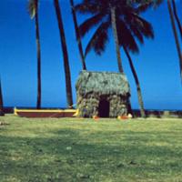 Surfboard, canoe & grass shack, Kodak's props. 8 Apr.…