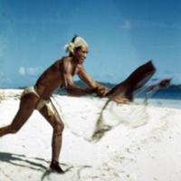 Trukese net fisherman. Falo Island, [Chuuk]. Sept. 1950