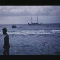 Libra I underway off reef from Kili Island village…