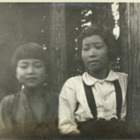 Two Japanese girls in the woods, Japan