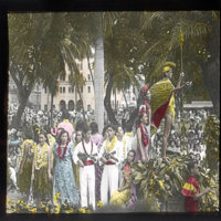 King Kamehameha Day with decorated statue and ukuleles