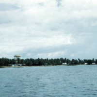 Water catchments, Majuro, from across lagoon. Dec. 1950