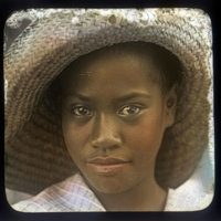 Young Puerto Rican girl wearing woven hat (Lahaina)