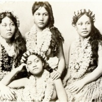 [Four Hawaiian girls in traditional costumes]