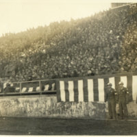 View of General's box & grandstand at New Years game…