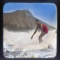 Surfer with Diamond Head in background