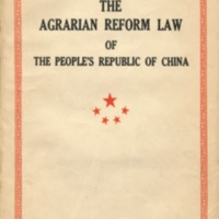 Agrarian reform law of the People's Rebuplic of China:…