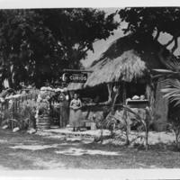Hawaiian Curios Stand with Woman