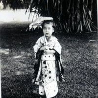 Little Girl in a Traditional Japanese Kimono
