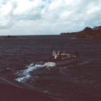 Launch returning to Yap. 19 Dec. 1949