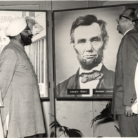 Viewers observe image of Lincoln