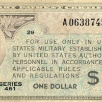 Kaizawa doc 30-1: Front image of a one dollar, military…