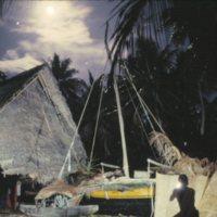 Canoe and Hut at Night