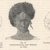 Gesichtstatowirung eines Madchens von Hula