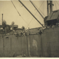 Repatriated Japanese soldiers on quarantined ship,…