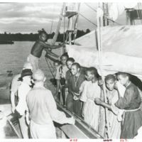 Catholic missionaries land on the docks on Guadalcanal…