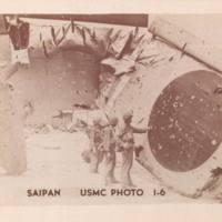Marines examine wing of downed Japanese plane