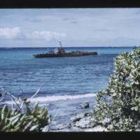 Eniwetok (Fred) Island. Rusted bulk of war craft in…